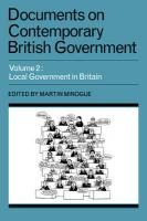 Documents on Contemporary British Government: Volume 2, Local Government in Britain