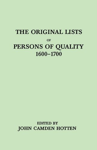 The Original Lists of Persons of Quality Who Went from Great Britain to the American Plantations, 1600-1700: Localities Where They Formerly - John Camden Hotten