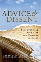 Advice & Dissent: The Struggle to Shape the Federal Judiciary