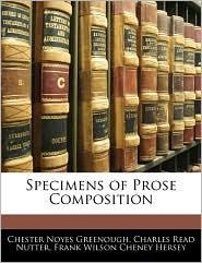 Specimens of Prose Composition