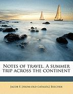 Notes of Travel. a Summer Trip Across the Continent
