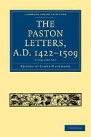 Cambridge Library Collection: The Paston Letters, A.D. 1422-1509 6 Volume Set