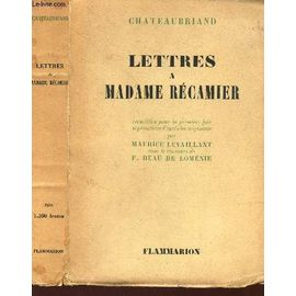 Lettres A Madame Recamier - Chateaubriand