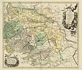 Historische Karte: FÜRSTENTUM HALBERSTADT mit der Abtei Quedlinburg und der Grafschaft Werningerode und der Harz 1760 (Plano)