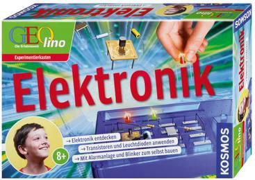 Elektronik   Elektronik entdecken, Transistoren und Leuchtdioden anwenden, Mit Alarmanlage und Blinker zum selbst bauen   GEOlino, Experimentierkasten mit Handbuch und Zubehör, 9 Volt Batterie erforderlich - ohne Autor