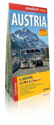Austria 1 : 500 000: up-to-date road network, road numbering, distances in kilometres, ski centres, national parks, shaded relief, index of 4 700 names