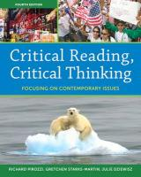 Critical Reading, Critical Thinking: Focusing on Contemporary Issues