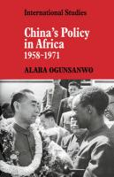 China's Policy in Africa 1958 71