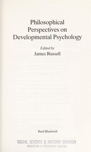 Philosophical Perspectives on Developmental Psychology - Russell, James