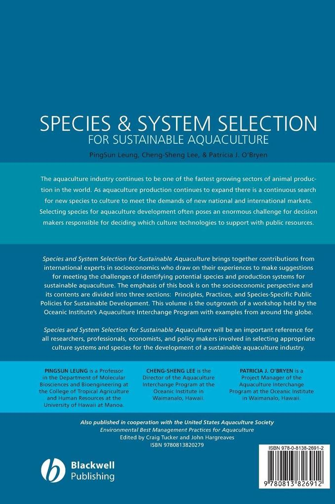 Species & System Selection for Sustainable Aquaculture als Buch von Pingsun Leung, Cheng-Sheng Lee, Patricia J. O´Bryen - John Wiley & Sons