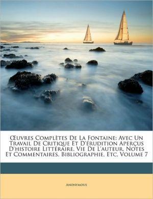 Oeuvres Completes De La Fontaine - Anonymous