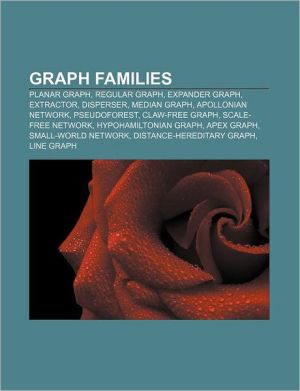 Graph families: Planar graph, Regular graph, Expander graph, Extractor, Disperser, Median graph, Apollonian network, Pseudoforest - Source: Wikipedia