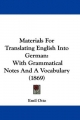 Materials For Translating English Into German - Emil Otto