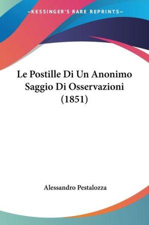 Le Postille Di Un Anonimo Saggio Di Osservazioni (1851)