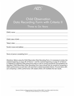 Assessment, Evaluation, and Programming System for Infants and Children (AEPS(R)), Second Edition, Child Observation Data Recording Form II: Three to - Capt, Betty Johnson, Joann Pretti-Frontczak, Kristie