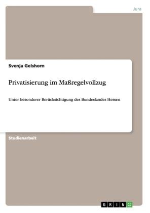 Akademische Schriftenreihe: Privatisierung im Maßregelvollzug - Unter besonderer Berücksichtigung des Bundeslandes Hessen - Gelshorn, Svenja