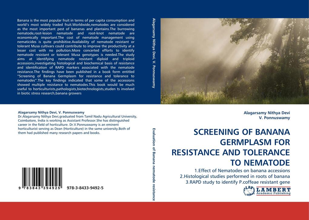 SCREENING OF BANANA GERMPLASM FOR RESISTANCE AND TOLERANCE TO NEMATODE als Buch von Alagarsamy Nithya Devi, V. Ponnuswamy - LAP Lambert Acad. Publ.