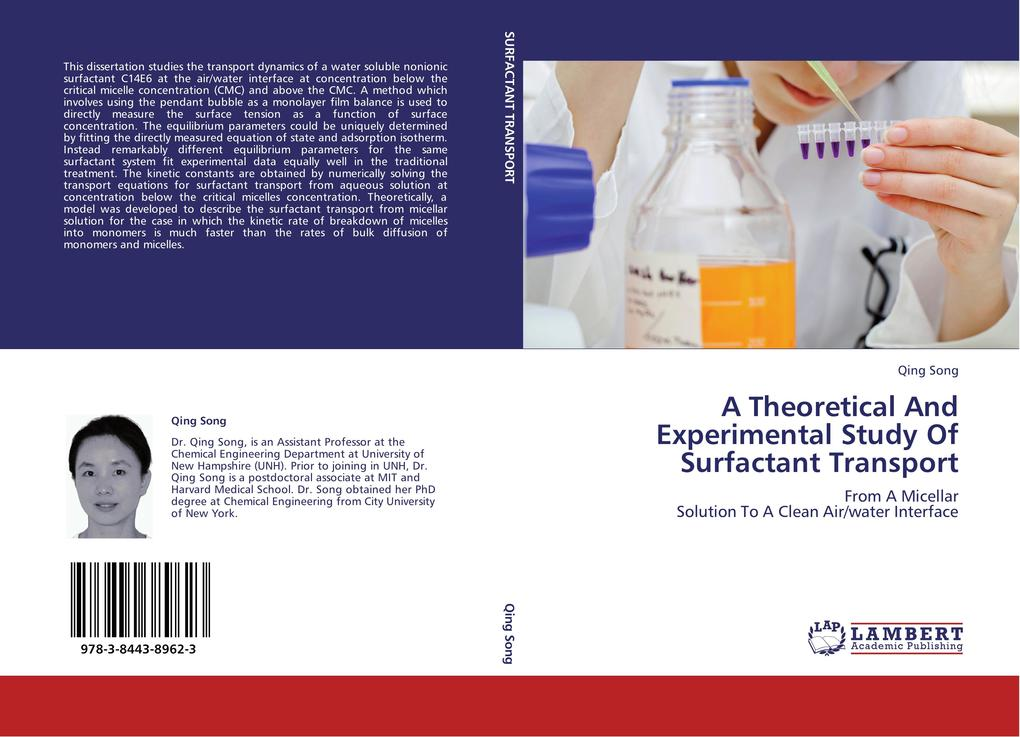 A Theoretical And Experimental Study Of Surfactant Transport als Buch von Qing Song - LAP Lambert Acad. Publ.