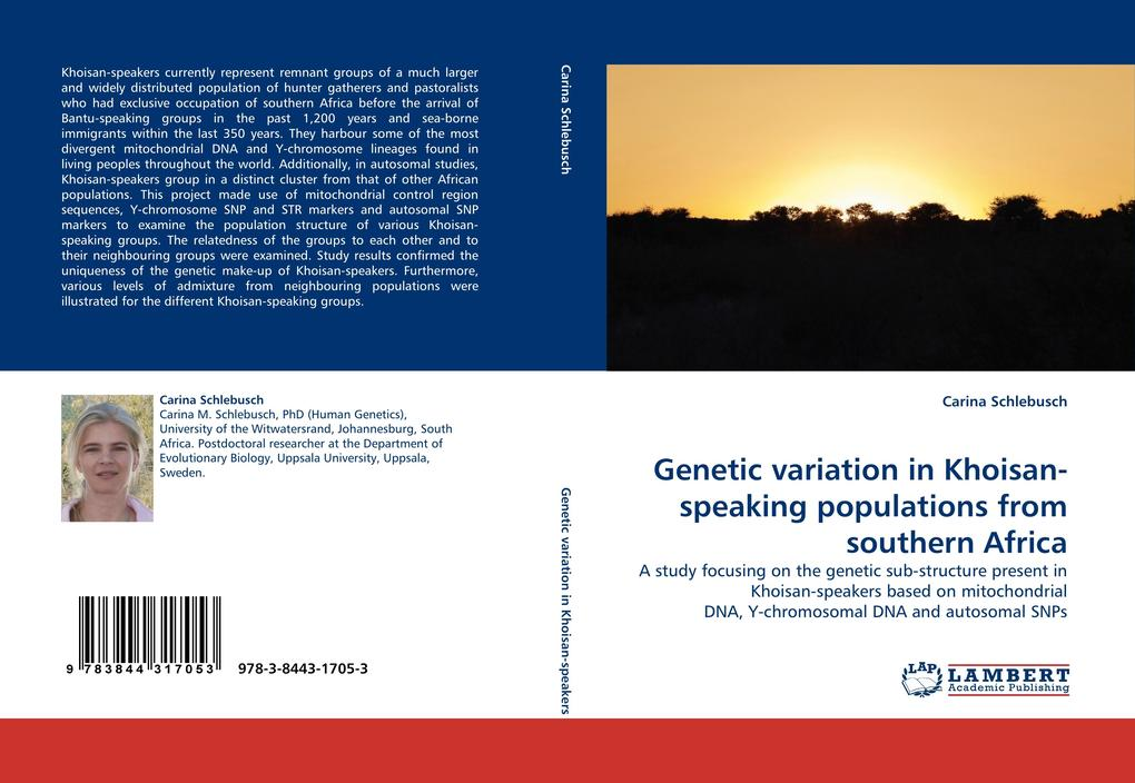 Genetic variation in Khoisan-speaking populations from southern Africa als Buch von Carina Schlebusch - LAP Lambert Acad. Publ.