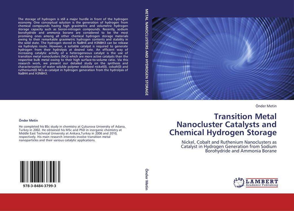 Transition Metal Nanocluster Catalysts and Chemical Hydrogen Storage als Buch von Önder Metin - LAP Lambert Academic Publishing