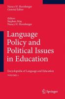 Language Policy and Political Issues in Education