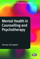 Mental Health in Counselling and Psychotherapy - Claringbull