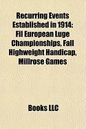 Recurring Events Established in 1914: Fil European Luge Championships