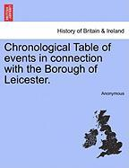Chronological Table of Events in Connection with the Borough of Leicester. - Anonymous