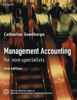 Management Accounting: For Non Specialists - Gowthorpe, Catherine