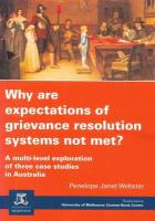 Why Are Expectations of Grievance Resolution Systems Not Met? - Webster, Penelope Janet
