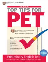 The Official Top Tips for PET: Paperback and CD-ROM