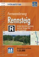Hikeline Fernwanderweg Rennsteig, 169 km: Auf dem historischen Kammweg durch den Thüringer Wald zum Frankenwald. Wanderführer und Karte 1 : 35.000, wetterfest