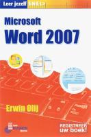 Leer jezelf Snel Microsoft Word 2007 / druk 1 - Olij, E.