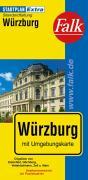Falk Stadtplan Extra Standardfaltung Würzburg mit Ortsteilen von Estenfeld, Gerb