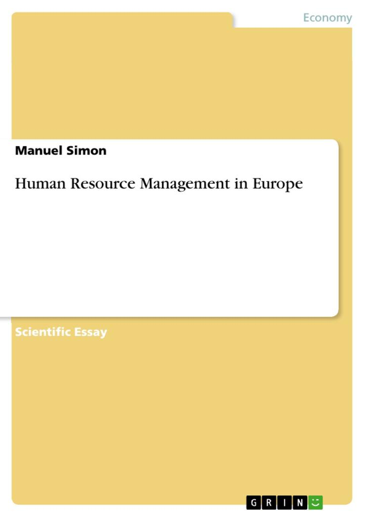 Human Resource Management in Europe als eBook Download von Manuel Simon - Manuel Simon